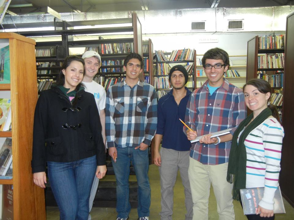Chris and other students conducting an energy audit for a local bookstore